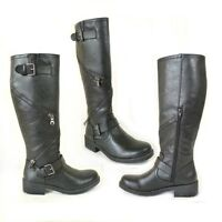 Ladies womens black biker zip buckle knee length low block heel boots shoes 3-8