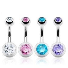 STEEL DOUBLE CZ GEM BALL BELLY NAVEL RING ELEGANT BUTTON PIERCING JEWELRY B282