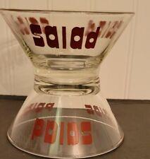 New listing Mid Century Modern Retro Vintage Salad Bowl WheatonGlass Maroon Graphics