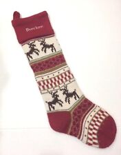 Pottery Barn Kids Red Reindeer Classic Fair Isle Knit Christmas Stocking BRECKEN
