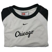 Vintage Nike Chicago White Sox Men's Medium Gray Long Sleeve T Shirt MLB CWS