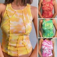 Tie Dye Print Sleeveless Women Tanks Streetwear Casual Summer Crop Y2K.