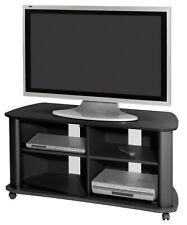 Mueble television salon color negro comedor 2 puertas cristal mesa TV 92x55x60