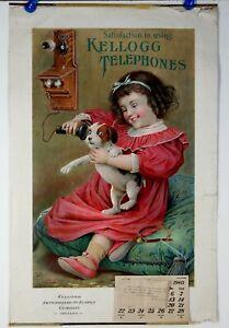 1903 KELLOGG TELEPHONES CHROMOLITHOGRAPH ADVERTISING CALENDAR / SIGN ROLL-UP
