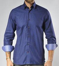 Luchiano Visconti Casual Shirt Mens M Navy Abstract Checked Pattern NWT $125
