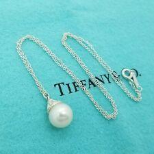 Tiffany & Co. Sterling Silver Ziegfeld 10mm Pearl Drop Pendant 16' In Necklace