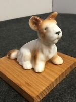 "Vintage Figurine Porcelain Scottish Terrier Brown White 3"" Tall 4"" Long NICE"