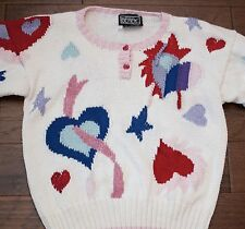 Berek Sweater Heart & Stars Hand Knit 100% Cotton White Size Large L