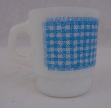 Two Anchor Hocking Mik Glass Stackable Mugs Graphic Flower & Checkered Gingerham