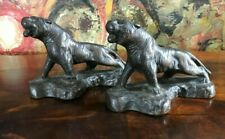 Antique ARMOR BRONZE COMPANY~ Tiger Bookends ~ Old Patina