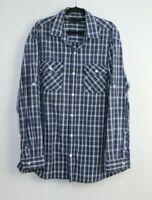 Jack Stone Big Men's Long Sleeve Button Up Blue Check Shirt Size 3XL