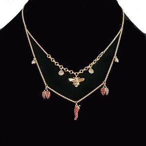 SWAROVSKI Lisabel Ladybug Chili Double Strand Necklace Gold Plated NEW