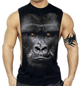 Men's Gorilla Black Workout Vest Tank Top Fitness Beast Muscle Ape MMA Gym Tee
