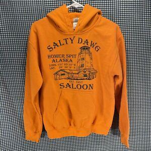 Salty Dawg Saloon Homer Alaska Orange Hoodie Men's Size Small