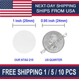 Round 25 mm// 1 Inch 50 Pieces 215 NFC Card Tag Blank White PVC Card NFC Coin Cards Compatible with Tagmo Amiibo and NFC Enabled Mobile Phones and Devices