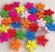 100 Pcs Mixed Color Snowflake Shape Wood Button For Sewing/Scrapbook fnk001