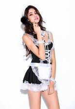 Black 6 Pieces Maid Valentine Costume Lingerie, Hen Party Fancy Dress, Size S-M