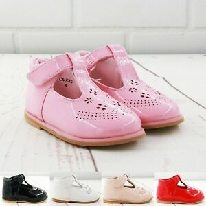 KIDS BABY INFANTS GIRLS SHINY T-BAR SPANISH WEDDING PARTY PATENT TODLER SHOES SZ