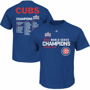 NEW Majestic 2016 Chicago Cubs MLB World Series Champions Roster T - Shirt SIZES