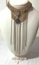 Multi Strand Choker with Tassel $88 New Antique Style Brass And Silver Finish