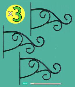 "x3 PLANT HANGER BRACKETS STEEL PLANT HOOKS 9"" — Hanging Garden Planter Baskets"
