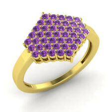 0.86 Ct Natural Gemstone Amethyst Engagement Ring 14K Yellow Gold Size K L M N O