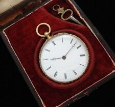 STUNNING Early 19th Century 18k Gold French Pocket Watch w/period box – SERVICED