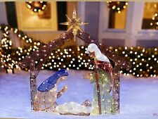 4' Christmas Lighted Outdoor Yard Nativity Scene Tinsel Sculpture Decoration Led