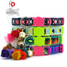 """7-12"""" Pet Cat Personalized Collars Colorful Tassels Design Id Tags Puppy Kitten"""