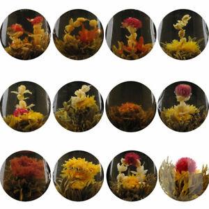 New 10 TYPES BLOOMING FLOWER FLOWERING GREEN CHINESE TEA BALL HANDMADE IN BAG
