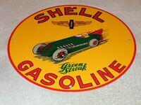 "VINTAGE SHELL GREEN STREAK GASOLINE W/ RACE CAR 11 3/4"" PORCELAIN METAL OIL SIGN"