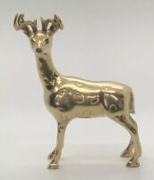 "Vintage Fritz Solid Brass Deer Buck Antlers Statue Figurine MCM 7"""