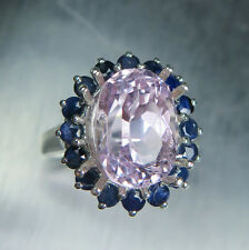 5.70cts Natural pink Kunzite (Spodumene) & sapphires 925 sterling silver ring