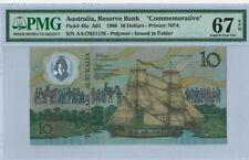 "1988 AUSTRALIA $10 ""COMMEMORATIVE"" PMG67 EPQ SUPERB GEM UNC [P-49a] @ Prefix AA"