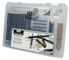34pc Sketch Drawing Pencil Set Sketching Art Kit Royal Langnickel in Carry Case