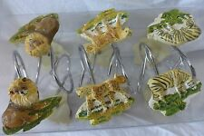 12 pc Sherry Kline Jungle Safari Shower Curtain Hooks Nip
