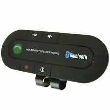 Bluetooth Wireless Speaker Car Phone Kit Hands Free USB Charger Sun Visor Clip