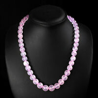 EXEBURENT BEST AAA 355.00 CTS NATURAL PINK ROSE QUARTZ ROUND BEADS NECKLACE