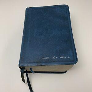 Mormon Quad Blue Leather LDS Scriptures Indexed Tabbed Quadruple Combination