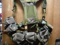 DPM Webbing set PLCE  belt yoke pouches well used B grade (box2)