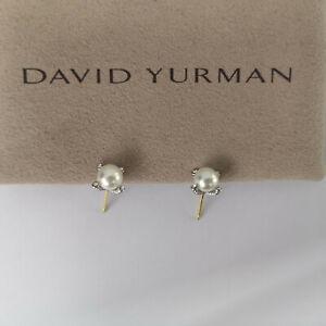 David Yurman 6mm 925 Sterling Silver White Pearl with Stud Earrings