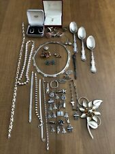 Huge Mixed Sterling Silver Lot Jewelry Other Scrap or Not & Wearable 400+ Grams