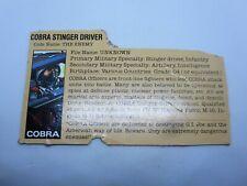 Cobra Stinger Driver Gray Back File Card 1984 Gi Joe Vintage LP