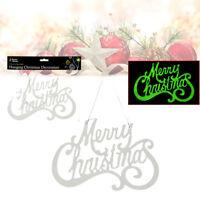 Glow in The Dark MERRY CHRISTMAS Sign Window Door Hanging Plate Home Decor Gift
