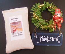 Dollhouse miniatures  Christmas set,reindeer feed, snowman wreath & sign