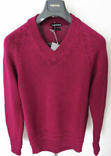 $1170 TOM FORD Pink Slim Fit Cable Knit Thick Cotton V-Neck Sweater Size XL