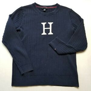 Tommy Hilfiger Sweater Boys XL Varsity H Logo Pullover Blue Youth Letterman J42