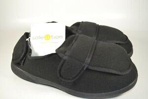 GOLD TOE adjustable ortho Diabetic wrap slippers Men's 10 Black.  Memory foam