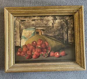 Antique 19th Century Still Life Original Oil Painting Austin C Wooster Signed