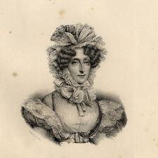 Portrait de Marie Amélie Reine des Français Lithographie originale XIXème